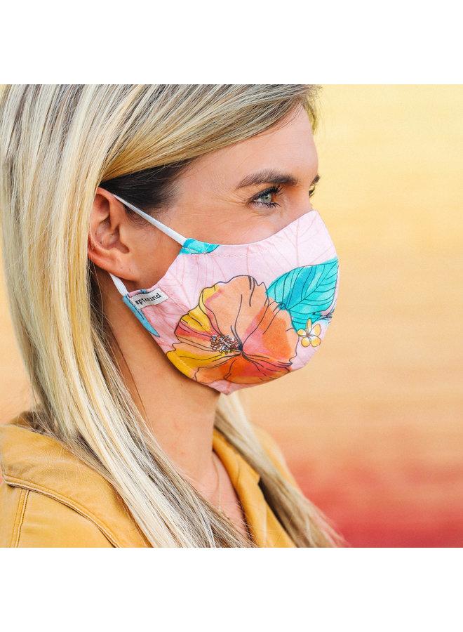 Pura Vida Mask - Coral Hibiscus Print