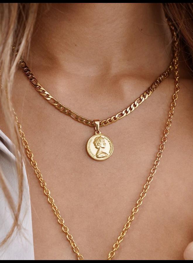 Elizabeth II Coin Gold Pendant by Ellie Vail