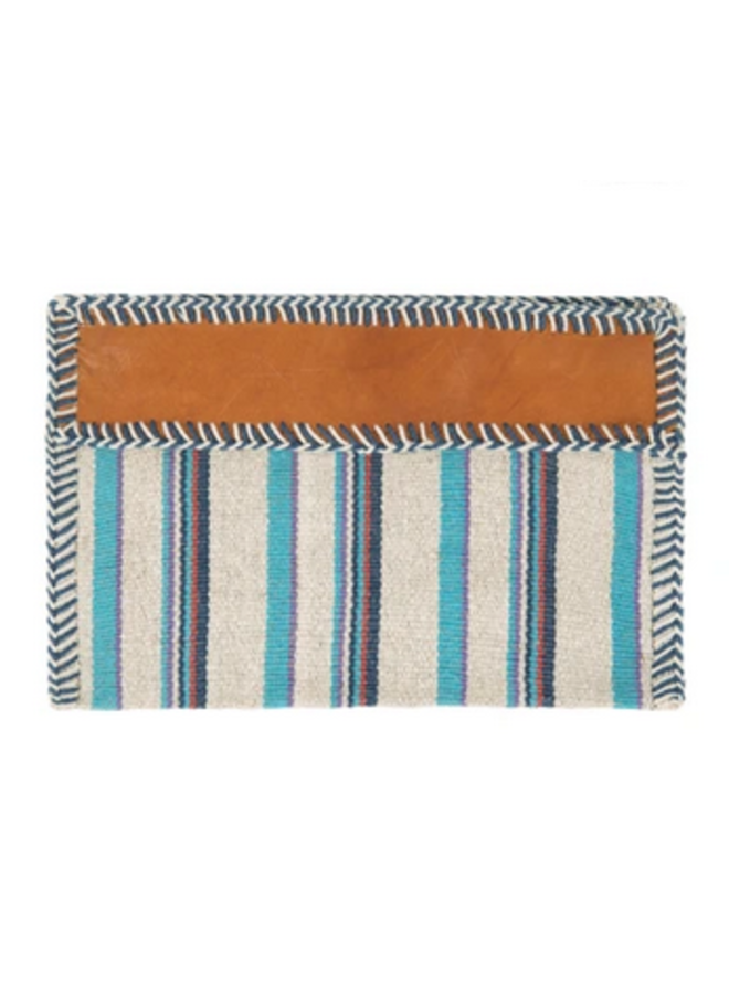 Mexican Blanket Woven Fabric Stripe Clutch -Turquoise