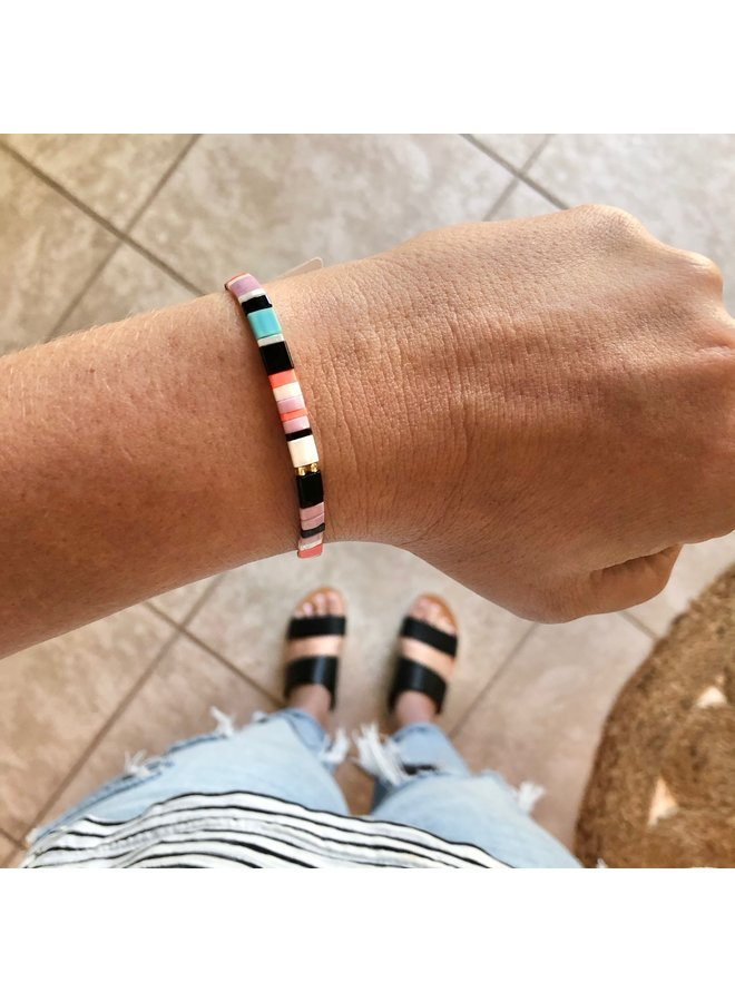Stretchy Beaded Stripes Bracelet - Turquoise, Pink, White, Orange, Black