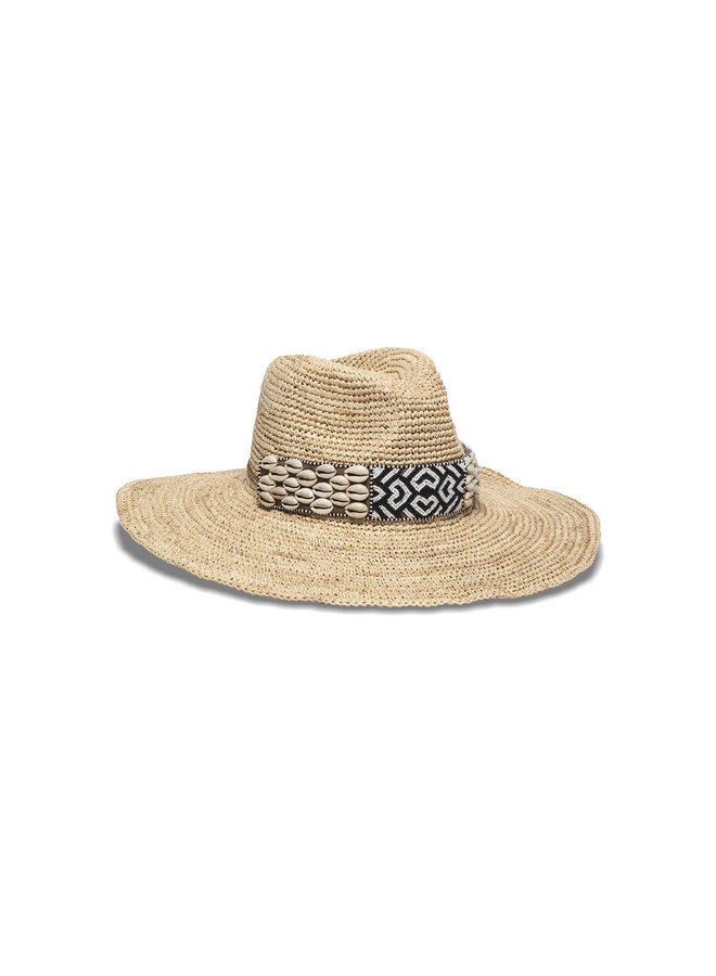 Mia Natural Hat w/ Cowrie Shell & Beaded Leather Wrap -
