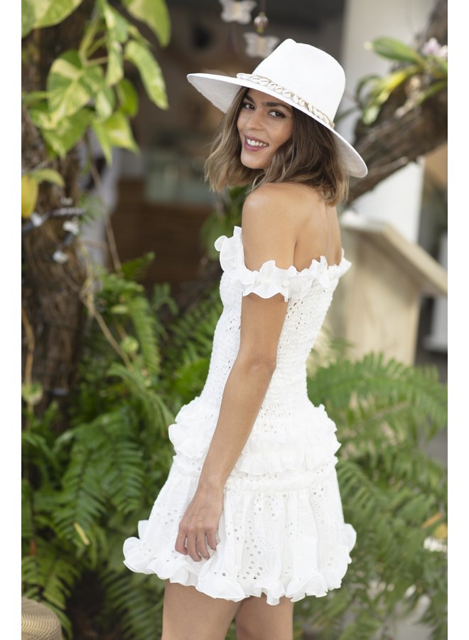 Barbados White Hat w/ Cowrie Shell & Hemp Wrap - Nikki Beach