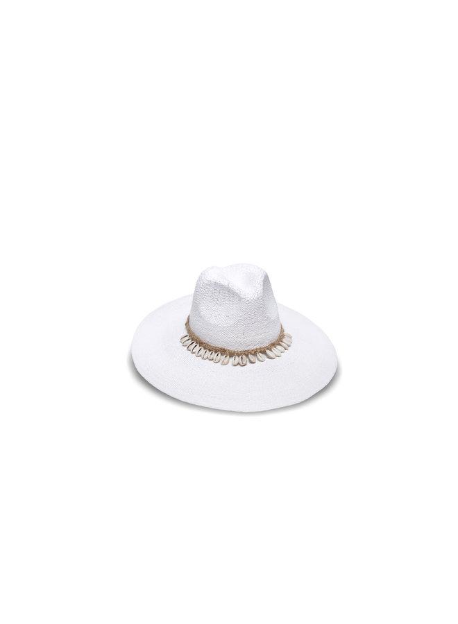 Barbados White Hat w/ Cowrie Shell & Hemp Wrap - Nikki Beach