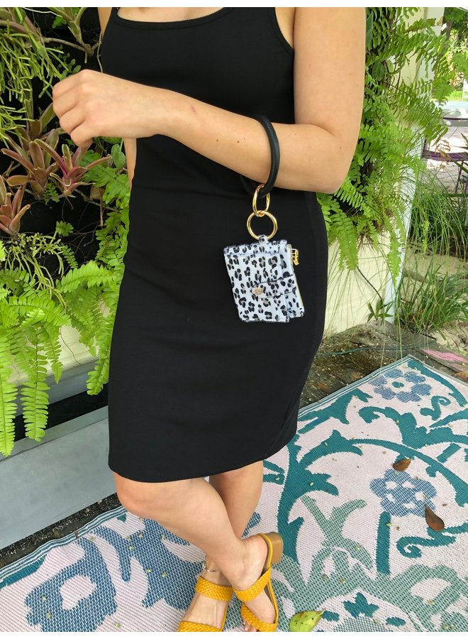 Wallet With Bangle - Black & White Leopard