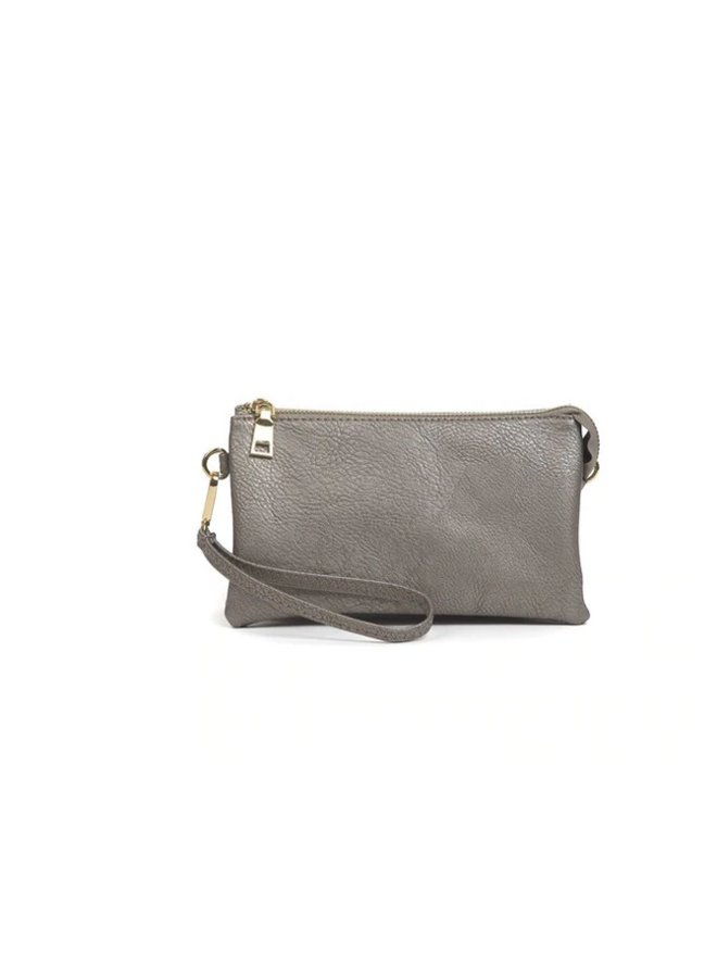 Convertible Cross Body Purse, Wristlet or Clutch -  Pewter