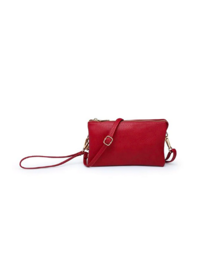 Convertible Cross Body Purse, Wristlet or Clutch -  Wine Red