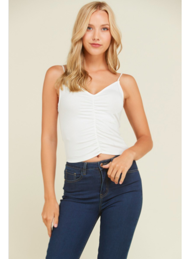 White Cami Top w/ Front Ruching