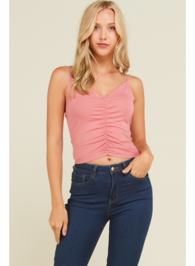 Cami Top w/ Front Ruching  - Dusty Rose