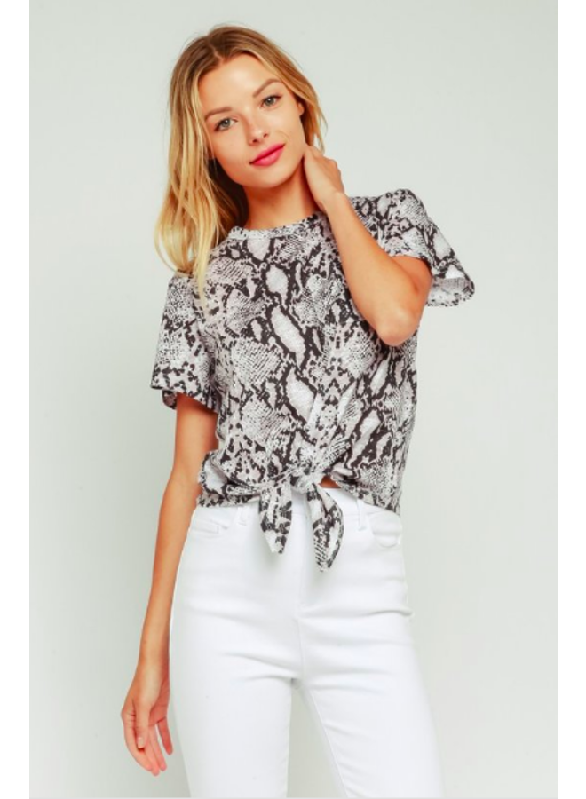 Snake Print Tee w/ Pocket & Waist Tie by Olivaceous - Black & White