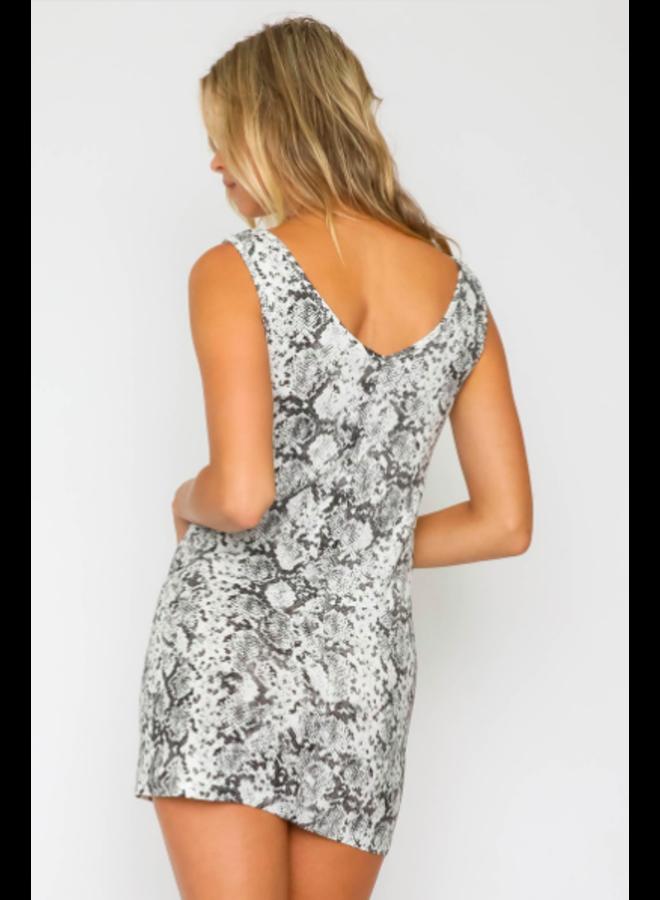 Snake Print V Neck Mini Dress by Olivaceous - Black & White
