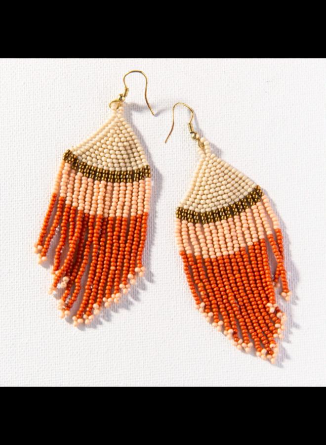 Colorblock Fringe Earrings - Rust, Pink, Ivory
