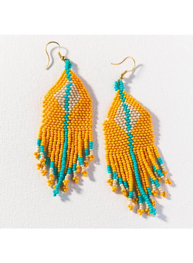 Yellow, Ivory & Turquoise Diamond Fringe Earrings