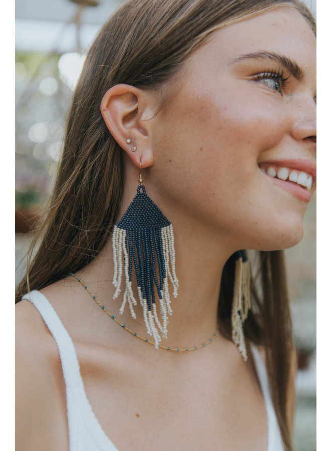 Navy & Ivory Fringe Earrings
