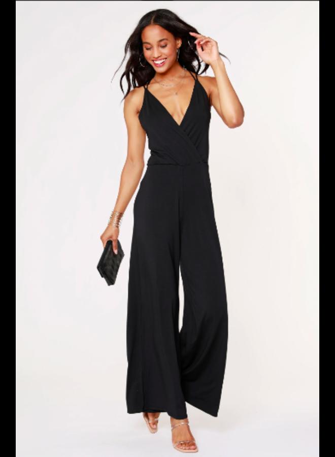 Black Strappy Cami Jersey Jumpsuit - Bobi