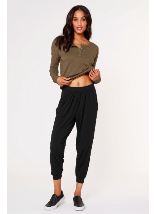 Black Jersey Jogger Pants by Bobi