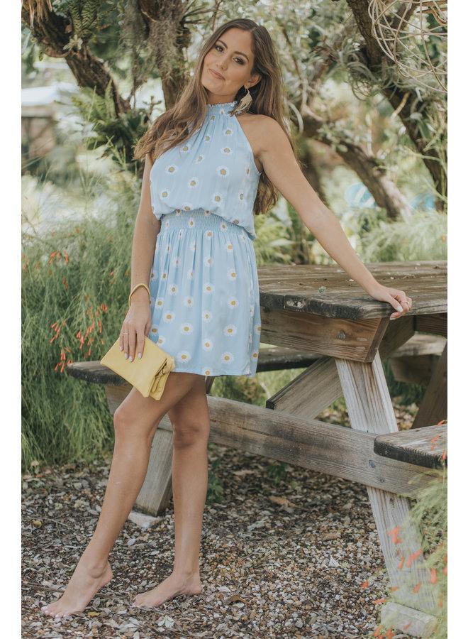 Daisy Alexa High Neck Short Dress by Skemo - Blue/Ocean