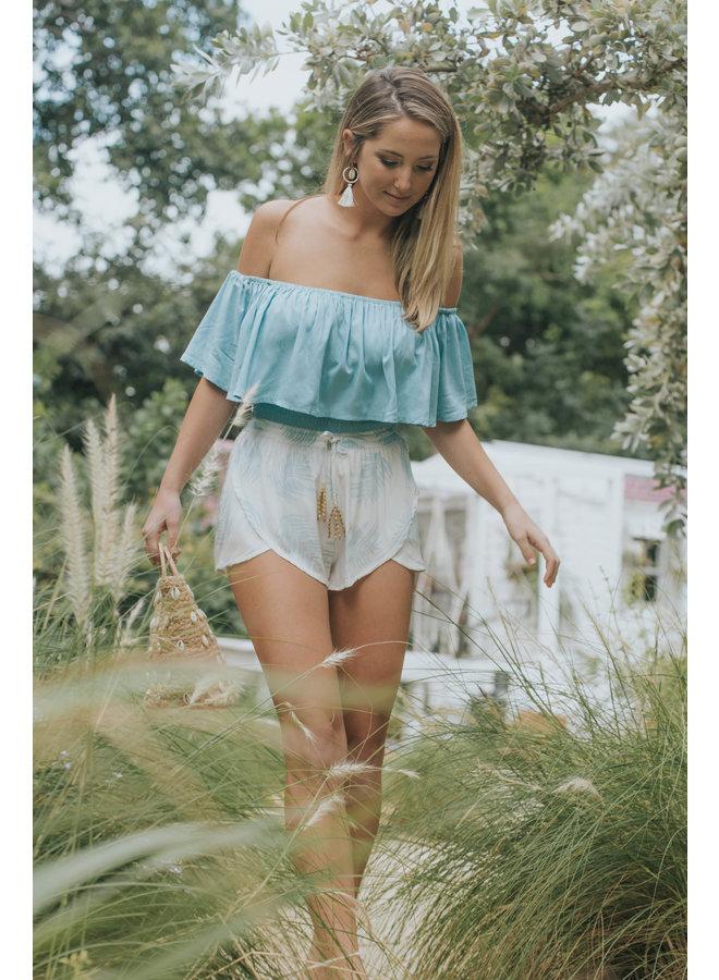 Palmera Shorts w/ Beaded Tassels by Skemo - Blue Ocean