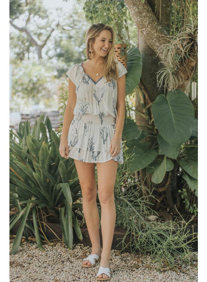 Gypsy Dress w/ Tie & Smocked Waist by Skemo - Coral Reef Blue/Ocean