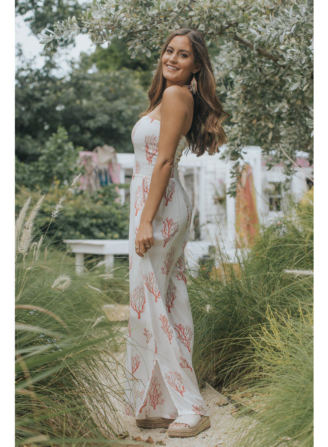 Strapless Jumpsuit by Skemo - Coral Reef Red