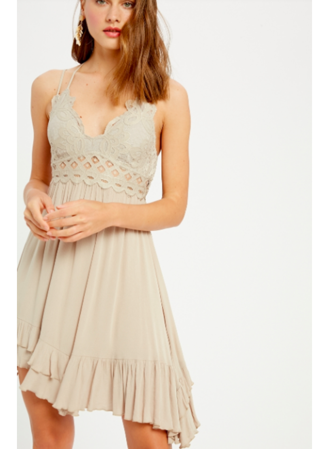 Lacey Top Short Slip Dress by Wishlist - Champagne