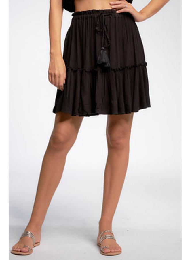Gauze Ruffle Short Skirt by Elan - Black