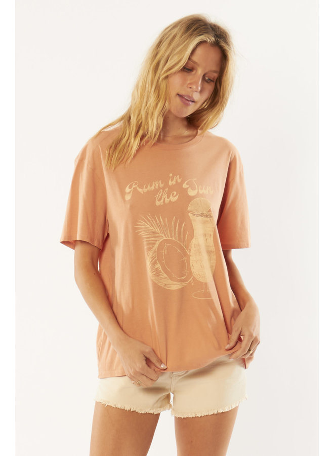 Rum in the Sand Tee by Amuse Society - Orange/Cognac