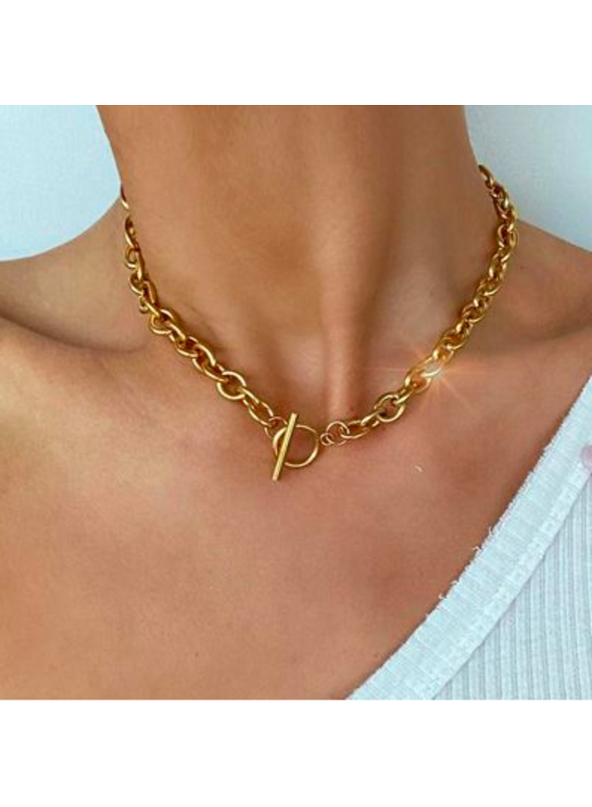 Aiden Rolo Chain Toggle Necklace -  by Ellie Vail