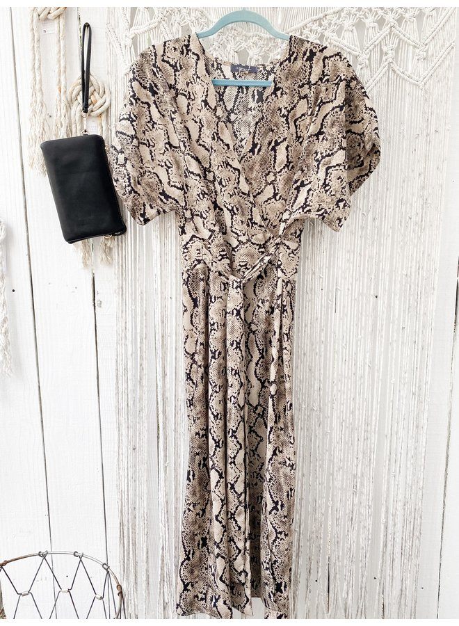 Satin Snake Print Wrap Midi Dress by KLD