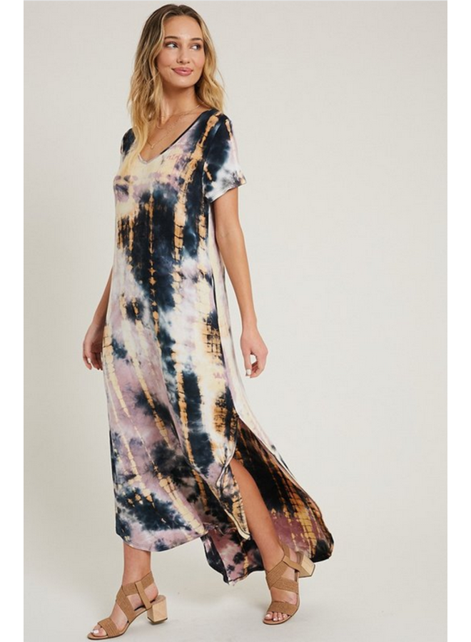 Tie Dye Maxi T Shirt Dress by Eesome - Pink