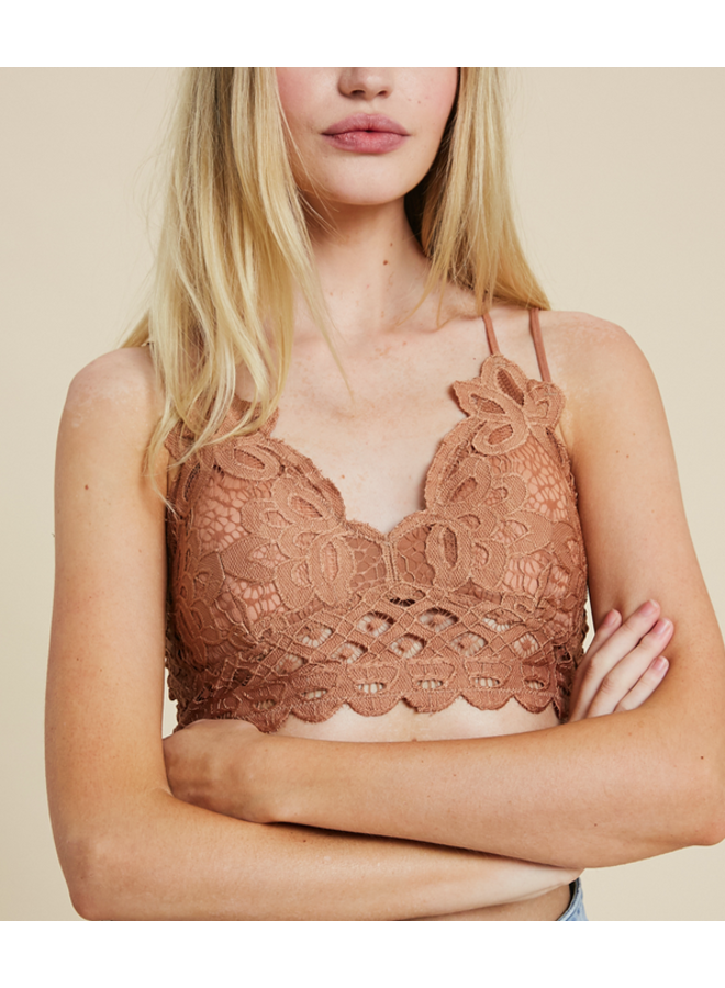 Strappy Lace Padded Bralette / Crop Top by Wishlist- Ginger