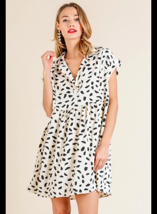 Dalmation Print Babydoll Short Dress