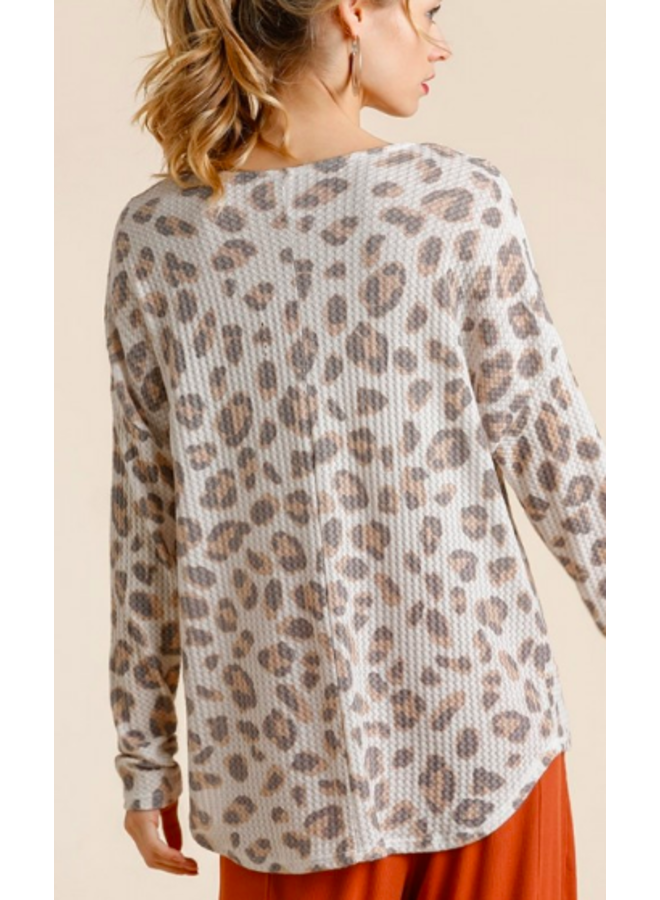 Leopard Print Waffle Top - Cream Grey Pink