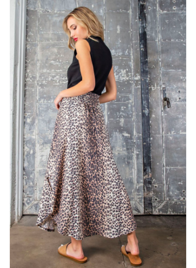 Leopard Smocked Waist Maxi Skirt by Eesome