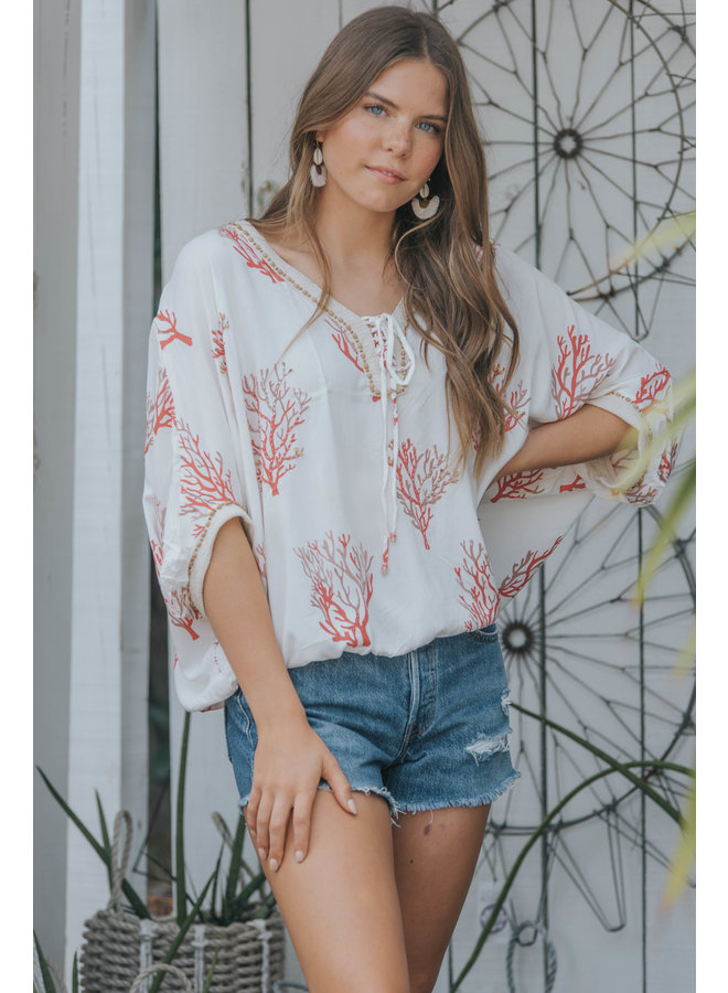 Coral Reef Miami Top by Skemo - Red