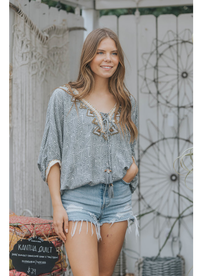 Namibia Miami Top w/ Beaded Neck & Tassels by Skemo - Grey