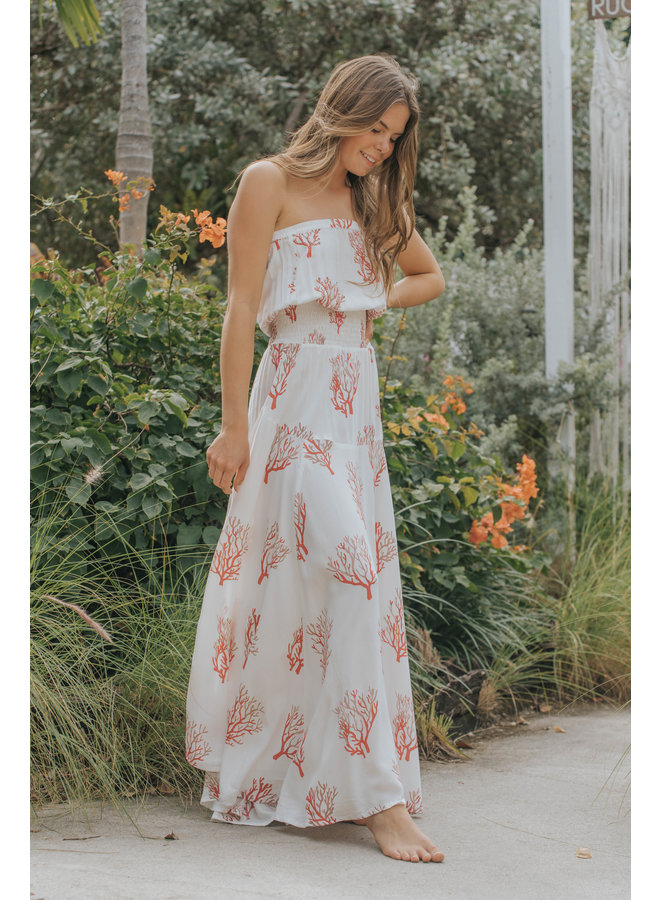 Strapless Maxi Dress by Skemo - Coral Reef Red