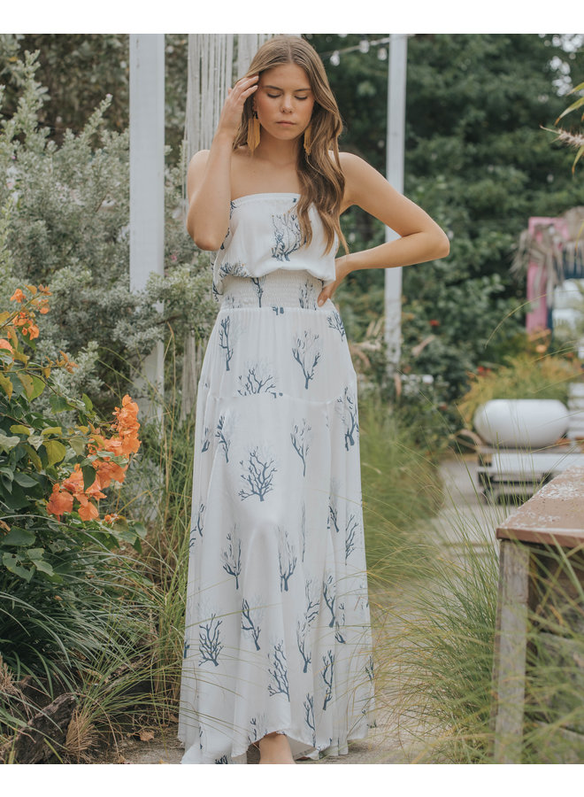 Strapless Maxi Dress by Skemo - Coral Reef Indigo