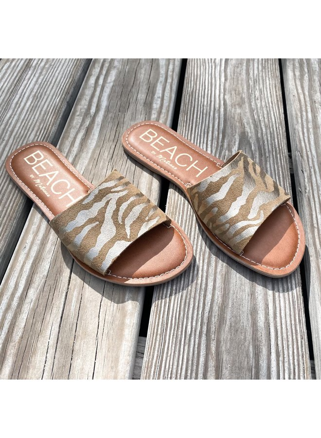 Gold Zebra Suede Slide Sandals
