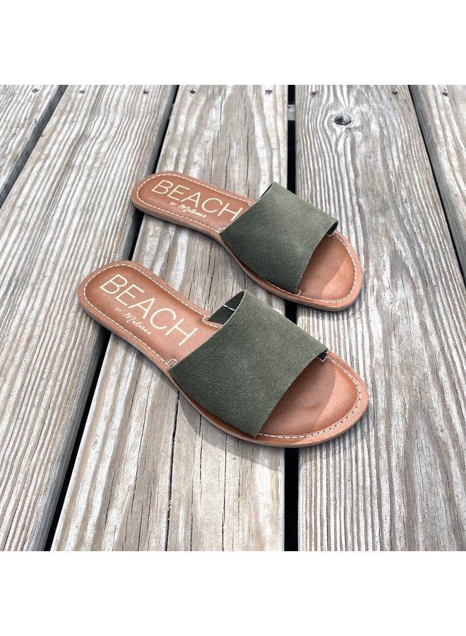 Olive Suede Slide Sandals