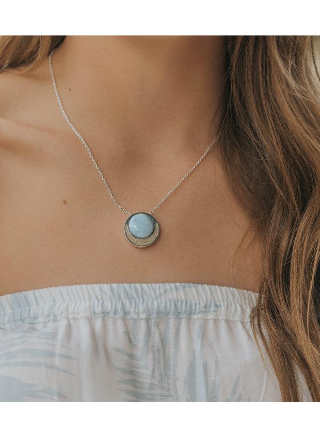 Crescent Moon Larimar Sterling Silver Necklace - Islamorada Sand & Larimar by Dune
