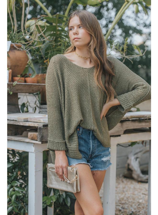 Oversized Yarn Sweater by Wishlist - Moss Green