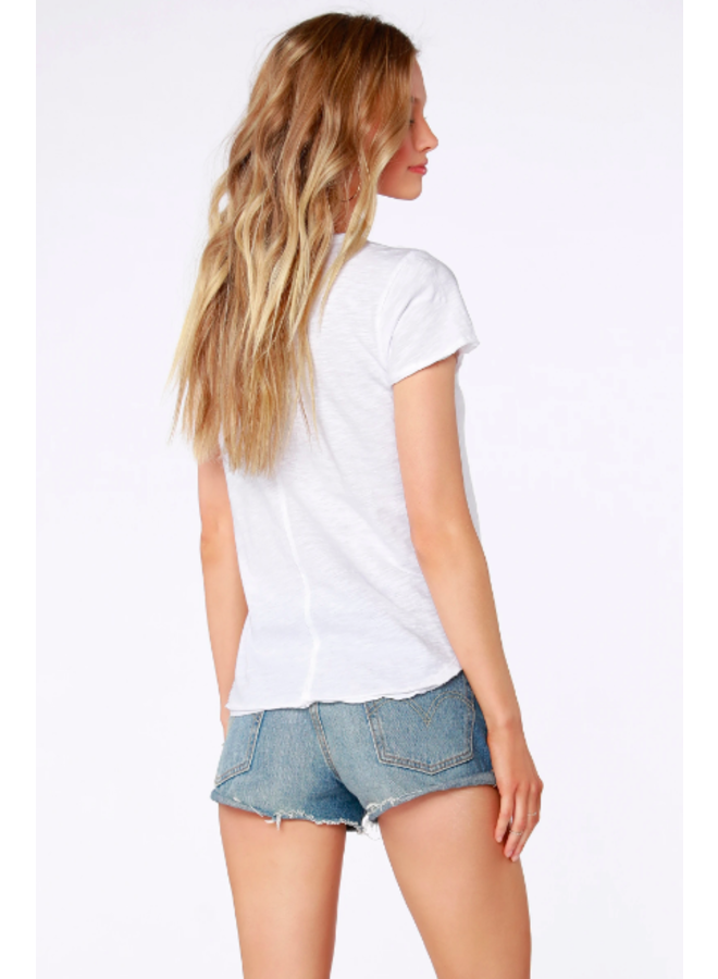 Short Sleeve  T Shirt w/ Frayed Edge - White