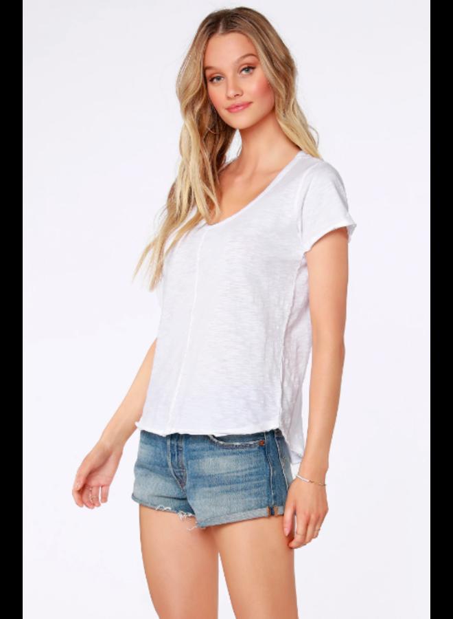 Short Sleeve  T Shirt w/ Frayed Edge - White