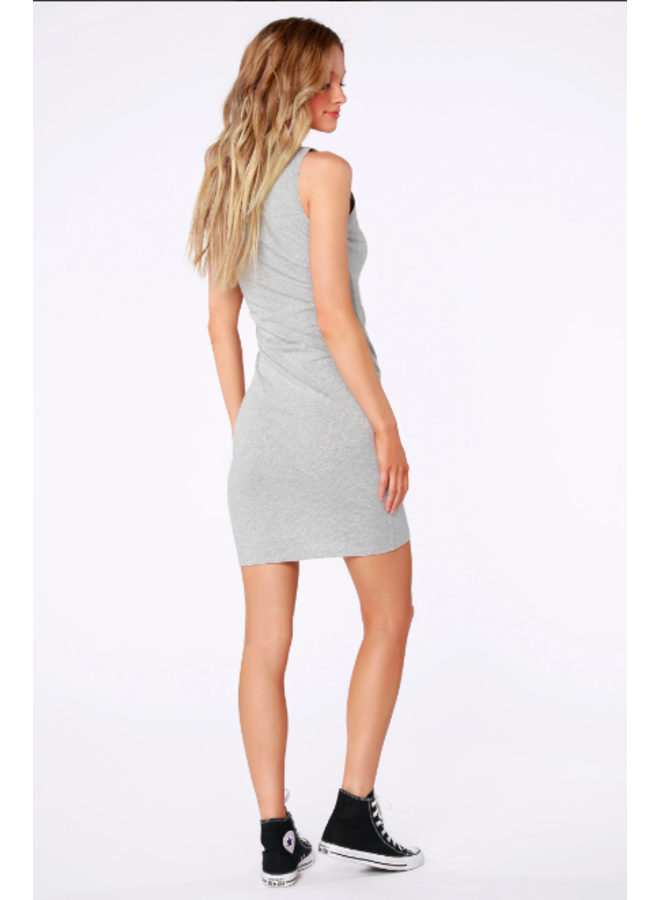 Ruched Side Surplice Tank Dress by Bobi - Heather Grey