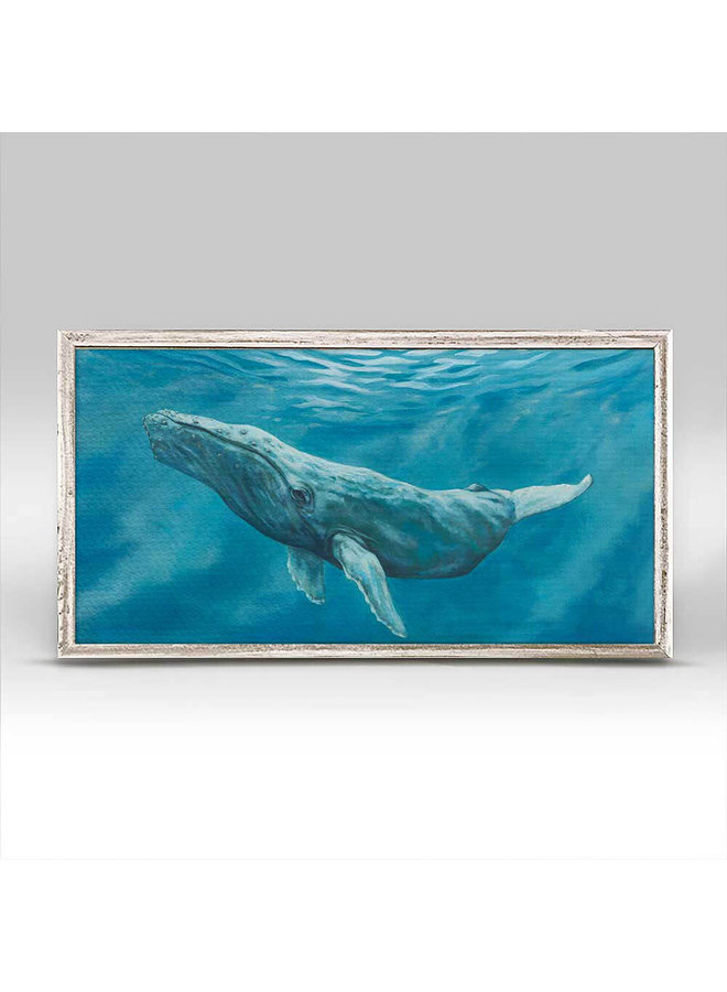 Humpback Whale Serene  10x5 Rustic Mini Wall Art