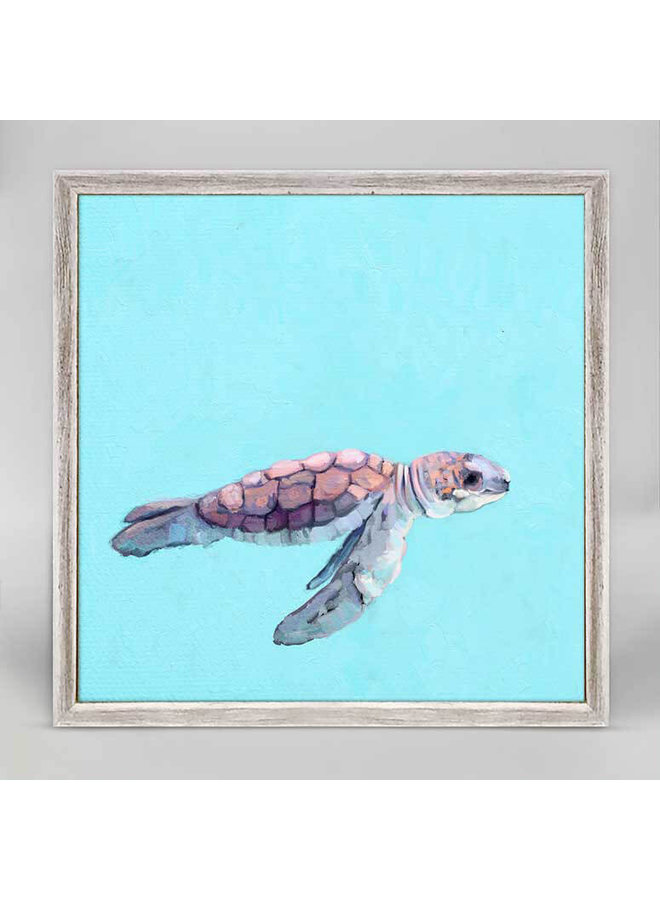 Swimming Baby Turtle 2 6x6 Canvas Wall Art