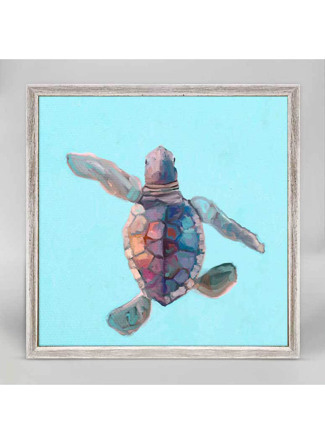 Swimming Baby Turtle 3 6x6 Canvas Wall Art