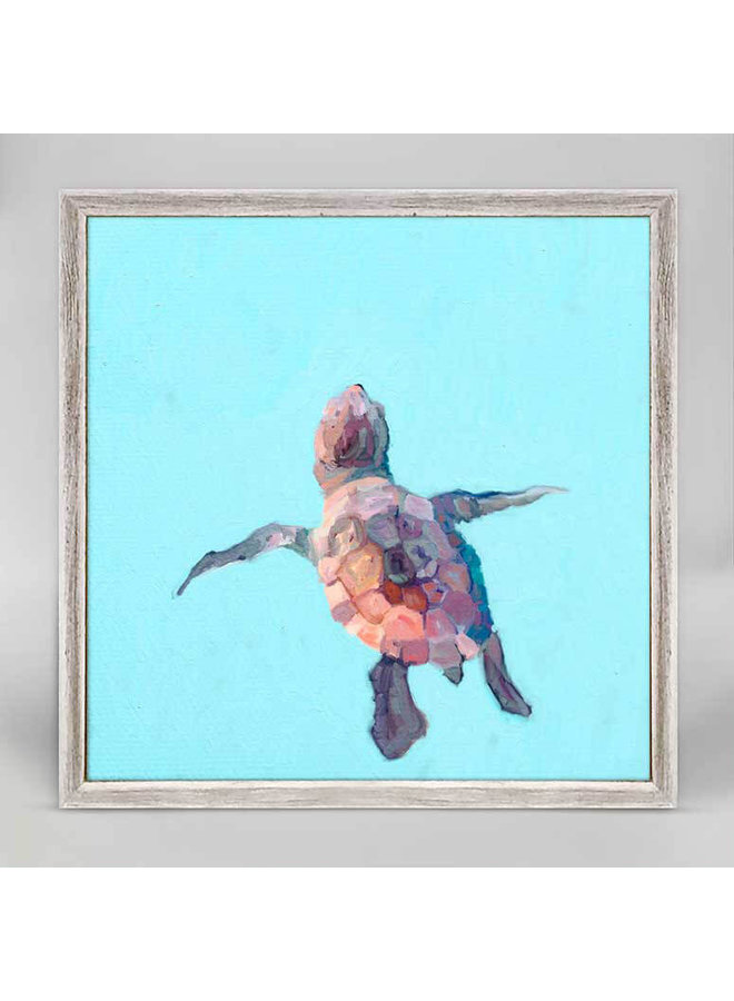 Swimming Baby Turtle  6x6 Canvas Wall Art