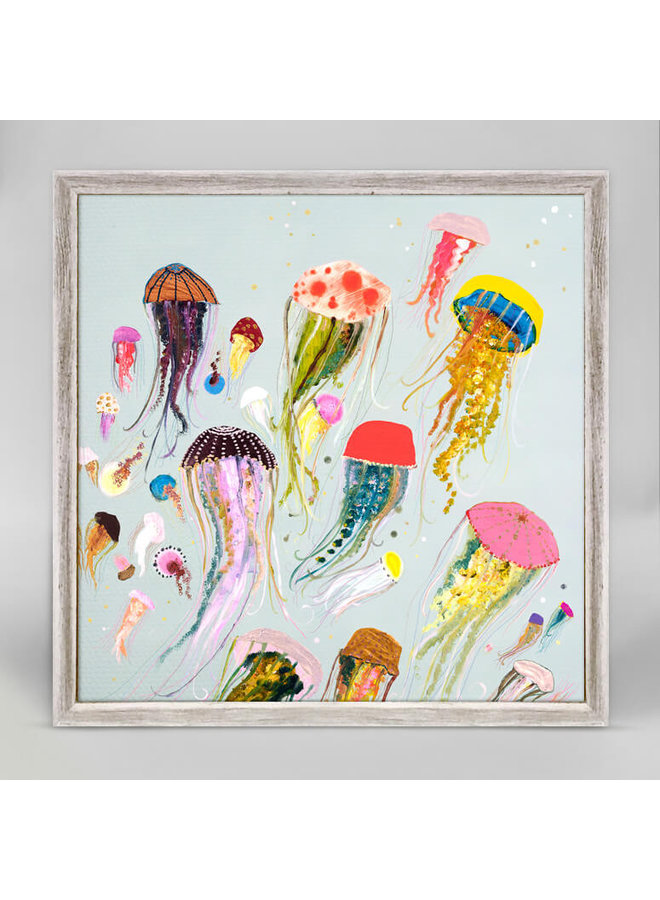White Floating Jellyfish 6x6 Canvas Wall Art