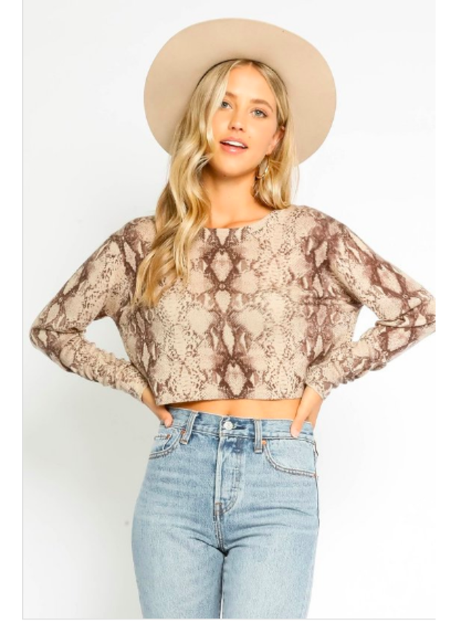 Cropped Snakeskin Sweater by Olivaceous - Grey Snake